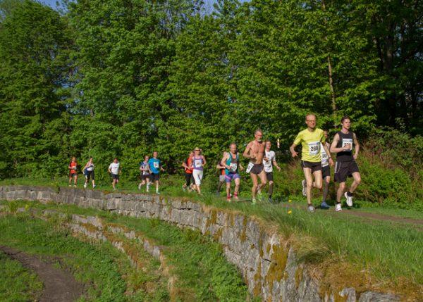 Idyllisk fra fjorårets løp i Drøbak, der Follotrimtraveren Eivind Larsen leder an i puljen sin ut fra start. Foto: Trond Th. Hansen