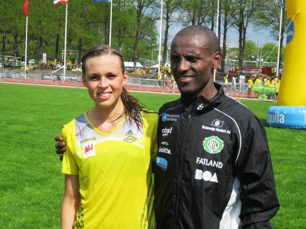 Veronika Bom fra SK Vidar og Urige Buta fra Haugesund ble beste norske løpere i Varvet. Foto: Fra SK Vidar sin Facebookside