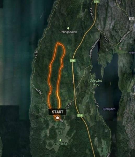 Kart over Svartskogløpet