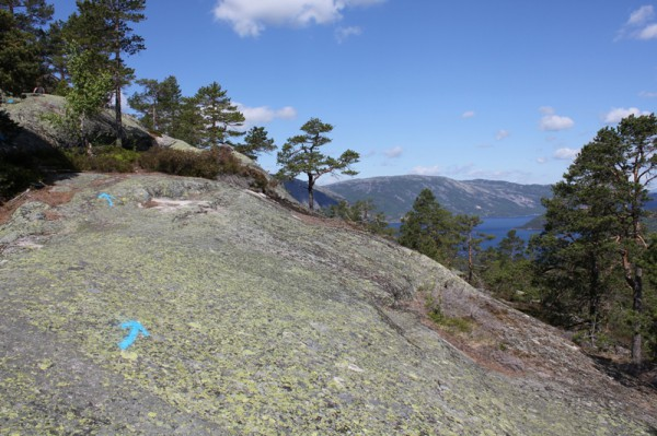 Typisk parti fra Skuggenatten, med blå piler hele veien opp
