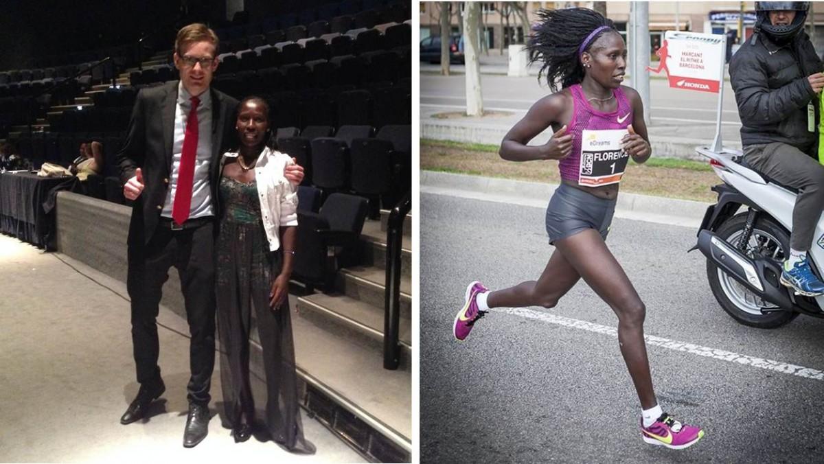 """Min lille lettbente """"venninne"""" fra Maraton-gallaen i Athen i november 2014, kenyanske Florence Jebet Kiplagat, gjør det igjen!! For andre året på rad i Barcelona setter hun ny verdensrekord for kvinner på halvmaraton. Tiden hennes nå blir utrolige 01:05:09. RESPEKT!!!"""